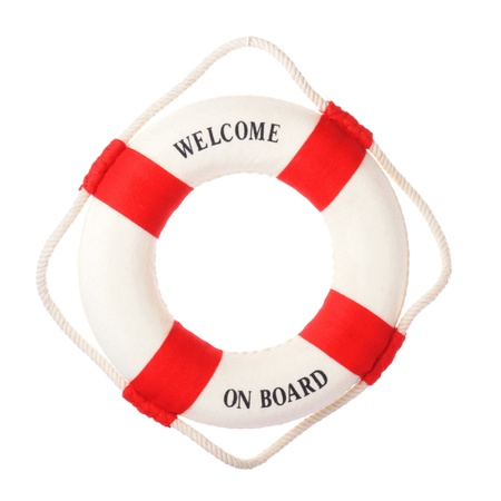 Life buoy with welcome on board on it Stock Photo