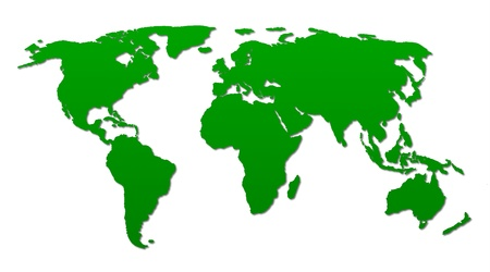a green world map on white background Stock Photo