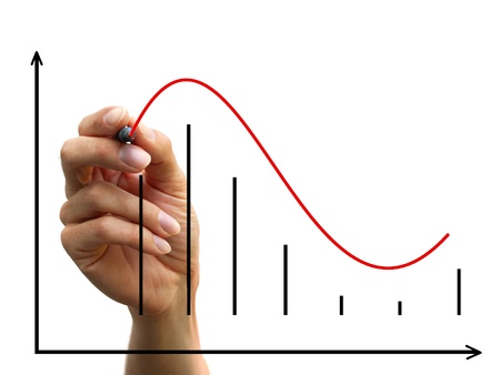 dataflow: a human hand drawing a business chart isolated on a white background