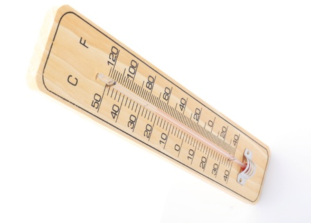 kelvin: wooden thermometer with red scale isolated on white background Stock Photo
