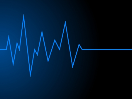 a blue radio wave on black background photo