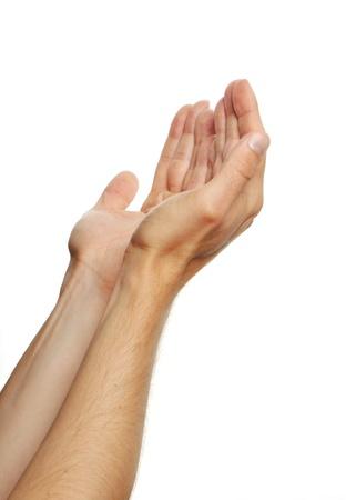 alabando a dios: manos en oración de un hombre aislado en el fondo blanco