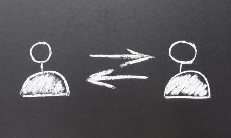 social network icons drawn using chalk on blackboard