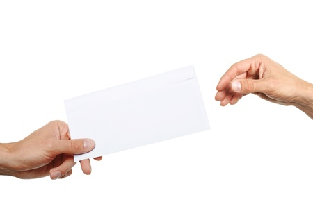 hand giving a blank envelope isolated on white background Stock Photo - 14593793