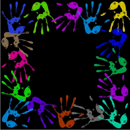 handprints: a lot of colorful hand prints on black background
