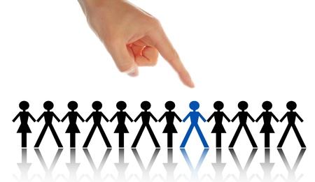 choose person: stand out from the crowd Stock Photo