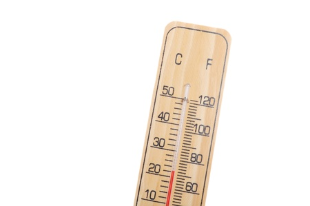 celcius: wooden thermometer with red scale on white background Stock Photo