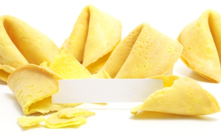 goodie: chinese fortune cookie with label isolated on white background Stock Photo