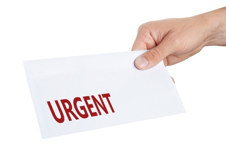hand giving an envelope with Urgent on it Stock Photo - 15174647