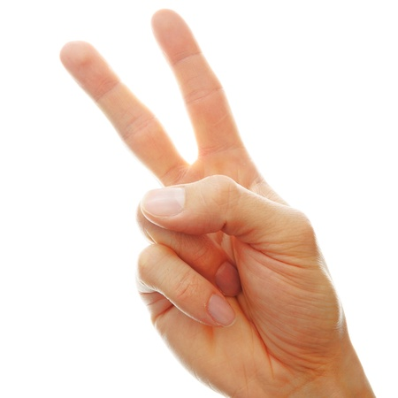 second hand: hand white peace sign isolated on white background