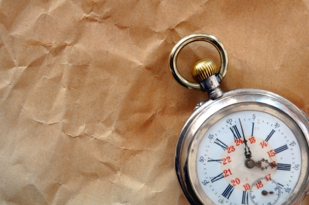 view of an old silver pocket watch photo