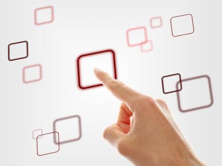 dotykový displej: Ruční výběr jednu z různých možností na šedém pozadí