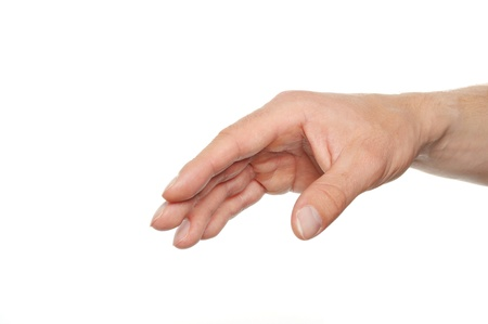 human hand reaching for something isolated on white background