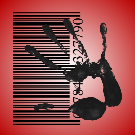 identification concept, a black handprint with barcode photo