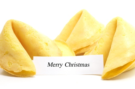 good fortune: chinese fortune cookie with label isolated on white background Stock Photo