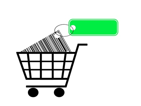 shopping cart with bar code and label isolated on white background Stock Photo - 15541837