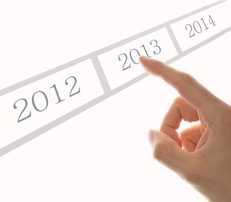 hand push a task with happy new year 2013 photo
