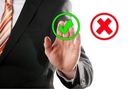 yes no: businessman touches of the button right in front of white background