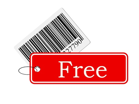bar code with labeling isolated on white background photo