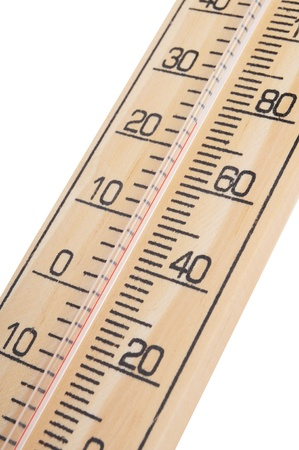celcius: wooden thermometer with red scale isolated on white background Stock Photo