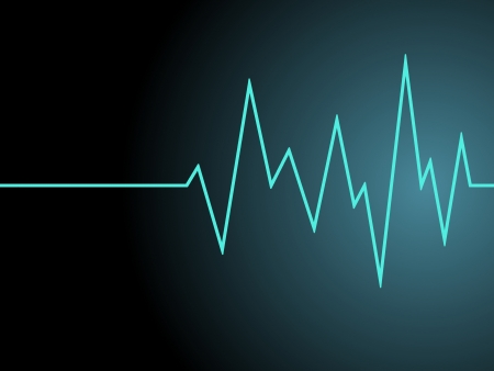 cardiac care: a blue radio wave on black background