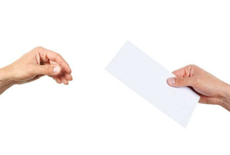 hand giving a blank envelope isolated on white background Stock Photo - 16016346