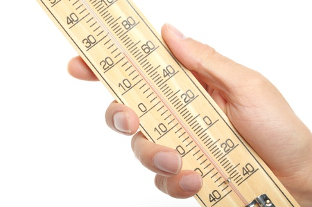 celcius: hand hold wooden thermometer on white background