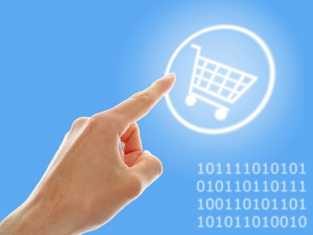electronic commerce: concept of growing e-commerce. shopping cart and numbers