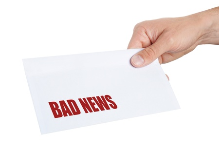 delievery: hand giving an envelope with Bad News on it