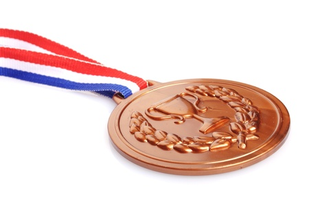 bronze medal: bronze medal with ribbon on white background