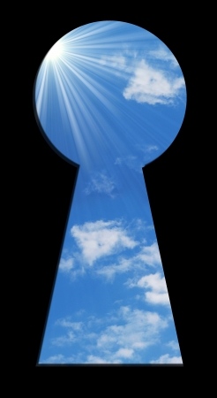 blue sky seen through the keyhole Stock Photo - 16332720