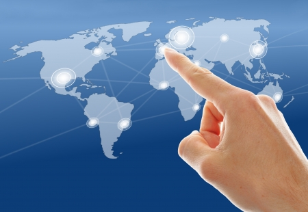 businessman hand push a social network icon Stock Photo - 16332669