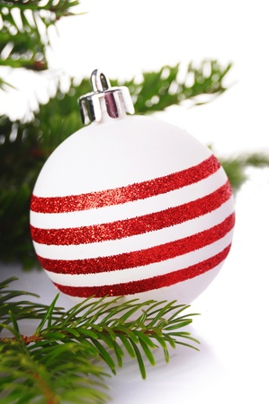 geen: christmas balls with geen branches on white background Stock Photo
