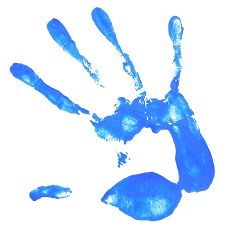 a hand print with blue color istolated on white background Stock Photo - 16667624