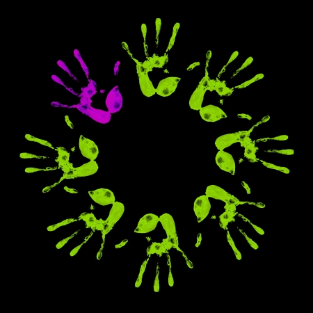 amity: a lot of colorful hand prints on black background