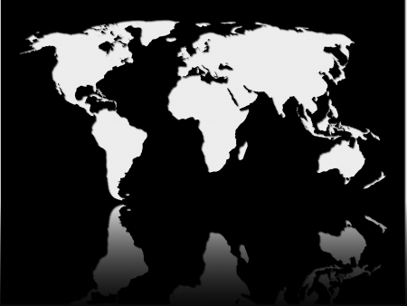 a white world map on black background