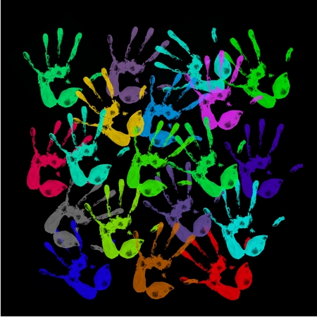 racism: a lot of colorful hand prints on black background