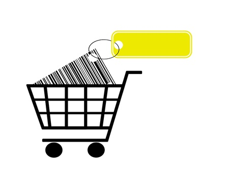 cartage: shopping cart with bar code and label isolated on white background