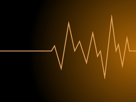 a orange radio wave on black background photo