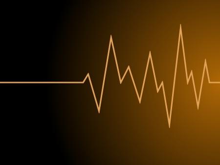 a orange radio wave on black background Stock Photo