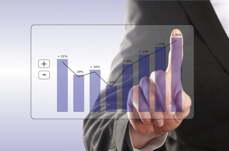 financial security: businessman looks at the development of the profit in a chart