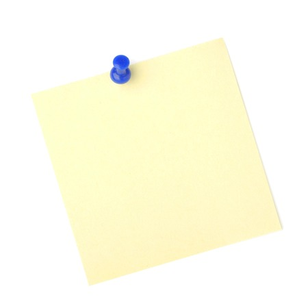 note paper pin: note paper with push pins on white background