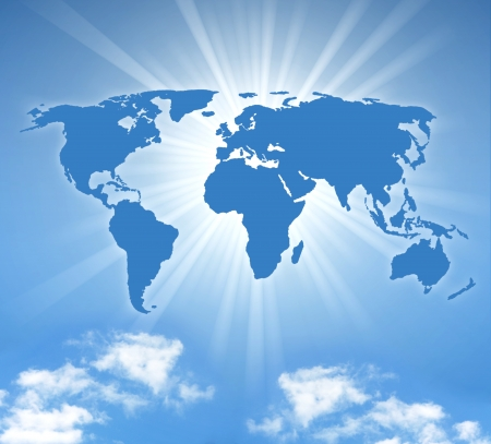 transnational: world map with sund and a blue sky Stock Photo