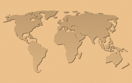 a fawn world map on brown background