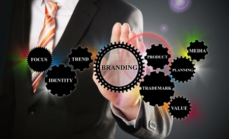 business man demonstrates the branding concept based on gear wheels Standard-Bild