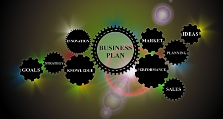 demonstrate: an interface demonstrates the concept for the creation of a business plan based on gear wheels Stock Photo