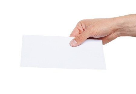delievery: hand giving a blank envelope isolated on white background