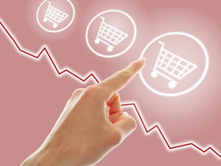 upgrowth: concept of growing e-commerce. shopping cart and graph