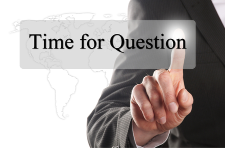 businness: businness man press the time for question button on a virtual interface
