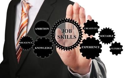 competencias laborales: hombre de negocios que muestra el concepto de habilidades para el trabajo sobre la base de las ruedas de engranaje